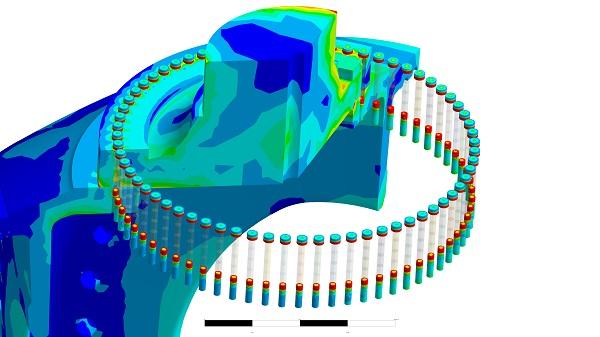 Ansys Ergebnisse der Schraubenverbindung Rotorwelle - Rotornabe