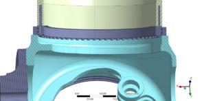 Berechnung der Schraubenverbindung zwischen Blattlager und Blatt einer Windenergieanlage - Schnittansicht auf das verschraubte Blatt