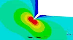 Bewertung einer FEM-Singularität mit Hilfe der Bruchmechanik - modellierter Riss