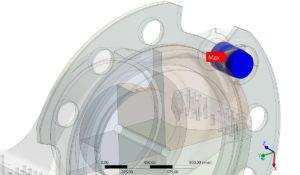 Geometrie-Abbildung aus Ansys für den Nachweis der statischen Festigkeit eines Arretierbolzens einer Windenergieanlage unter Berücksichtigung der plastischen Verformungsreserven