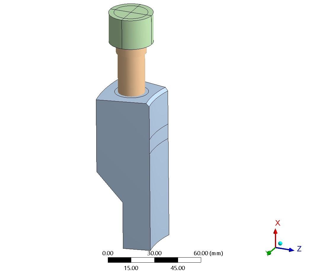 FE-Modell - in Ansys modellierte Geometrie entsprechend VDI 2230 - Beispiel 5 - Ansicht 2