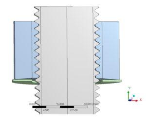 Hydraulisches torsions- und reibungsfreies Anziehverfahren - FE-Modell - Modellierung der Schraube mit Gewinde und kegelförmig ausgeformter Mutter