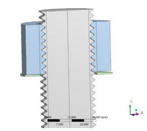 Hydraulisches torsions- und reibungsfreies Anziehverfahren - FE-Modell - Modellierung der Schraube mit Gewinde und schräger Mutter