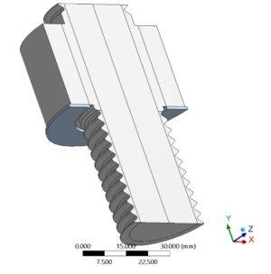 Hydraulisches torsions- und reibungsfreies Anziehverfahren - FE-Modell - Modellierung der Schraube ohne Gewinde und mit gerader Mutter
