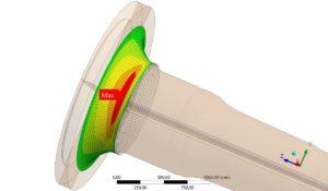 Geometrie-Abbildung aus Ansys für die Untersuchung der Betriebsfestigkeit der Rotorwelle einer Windenergieanlage