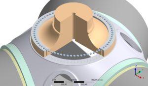 Geoemtrie-Abbildung aus Ansys für die Berechnung der Schraubverbindung zwischen Rotornabe und Rotorwelle einer Windenergieanlage