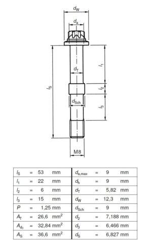 Technische Zeichnung 2 - Schraubenverbindung - VDI 2230 - Beispiel 4