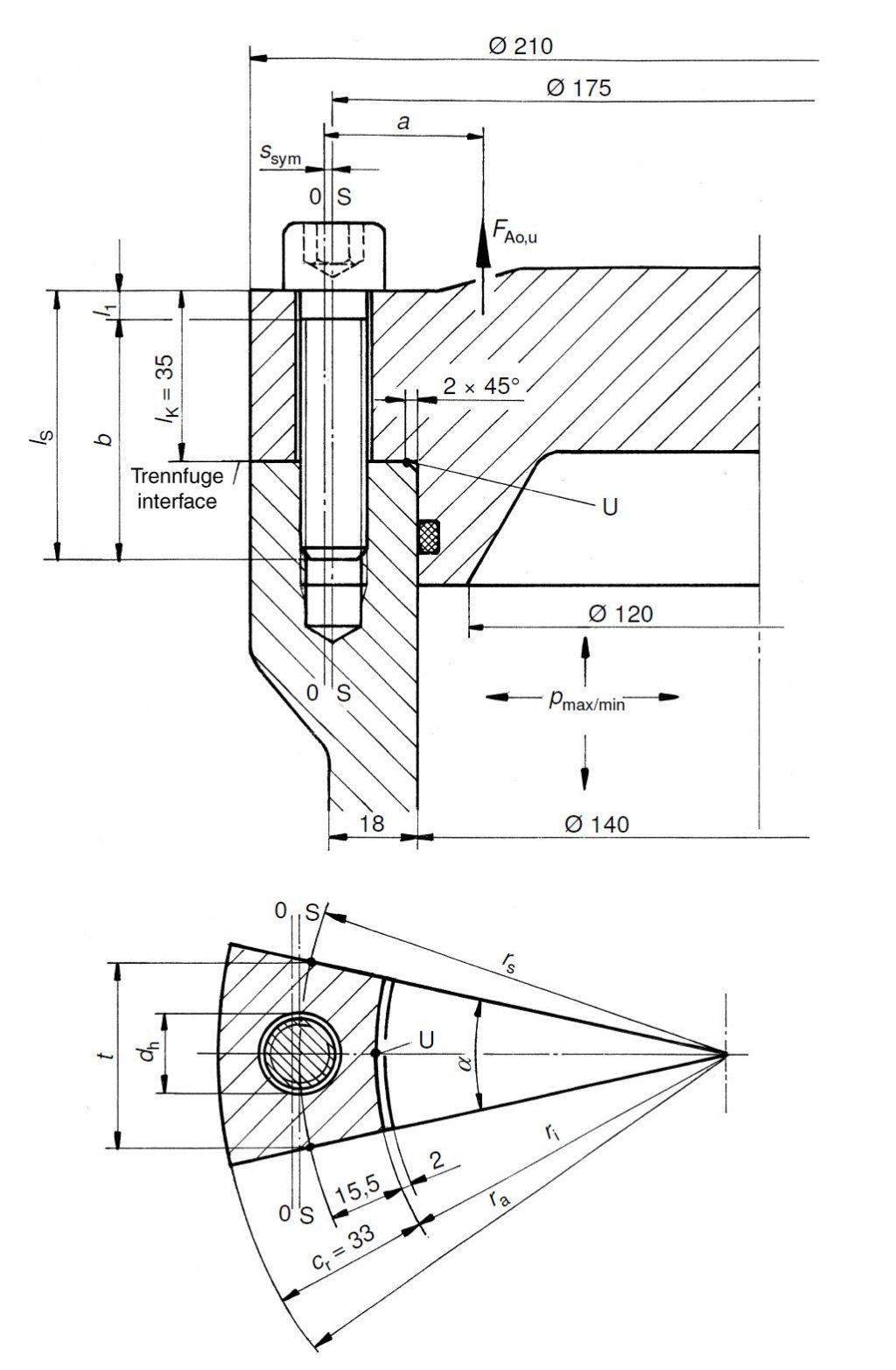 Technische Zeichnung - Abbildung der Schraubenverbindung aus VDI 2230 - Beispiel 5