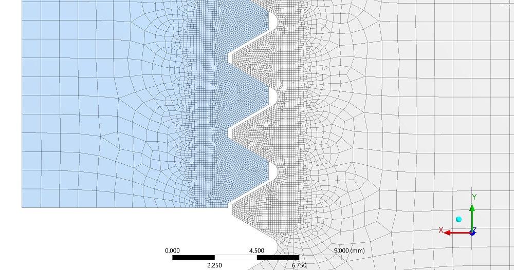 Darstellung der vernetzten Gewindegänge im Ansys FE-Modell